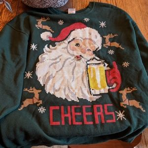 Ugly Christmas Sweater - Santa Drinking a Beer